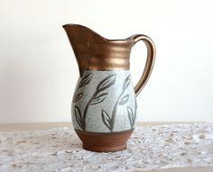 Ceramic Pitcher Pottery Vase, Handmade Rustic Metallic