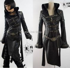 fashion punk goth rock Blk long jacket blazer coat XL | Clothing, Shoes & Accessories, Women's Clothing, Coats & Jackets | eBay!