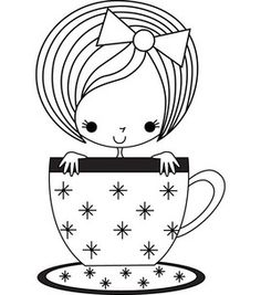 Stamping Bella Unmontierte Stempel-Tabitha The Teacup Girl – Stamps - Malvorlagen Mandala Coloring Book Pages, Coloring Pages For Kids, Embroidery Patterns, Hand Embroidery, Quilling Patterns, Digi Stamps, Fabric Painting, Easy Drawings, Doodle Art