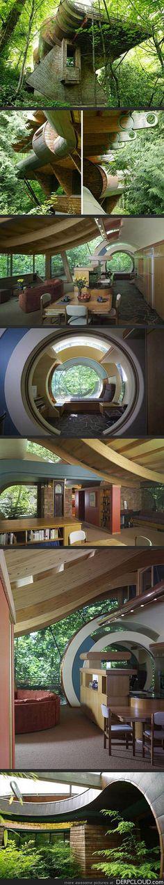 Whimsical Wooden Tree House Brings Nature, Music to Life in Portland, Oregon - Architect Robert Harvey Oshatz
