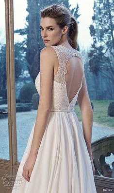 jillian 2016 bridal gowns jewel neckline lace embroidered top a  line wedding dress style charlot back
