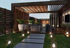 100 wonderful pergola patio design ideas page 8 Backyard Patio Designs, Modern Backyard, Small Backyard Landscaping, Rooftop Terrace Design, Terrace Garden Design, House Garden Design, Outdoor Pergola, Diy Pergola, Side Yards