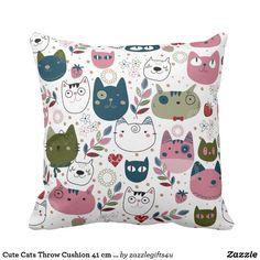 Cute Cats Throw Cushion 41 cm x 41 cm