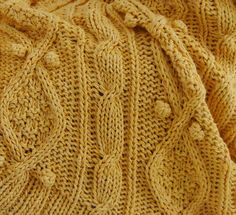 chunky sunshine yellow cotton cable knit throw by BiscuitScout, $350.00