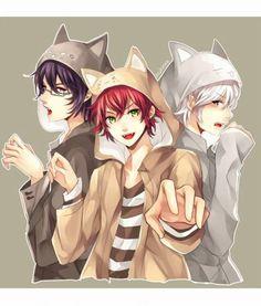Reiji, Ayato, and Subaru Sakamaki - Diabolik Lovers - Neko. Girls Anime, Hot Anime Guys, Cute Anime Boy, I Love Anime, Anime Neko, Kawaii Anime, Vampires, Reiji Sakamaki, Diabolik Lovers Ayato