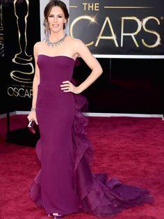Jennifer Garner in a custom plum gown by Gucci.