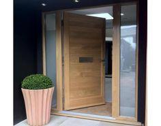 contemporary oak double front doors - solid door with side panels Oak Front Door, Front Door Porch, Double Front Doors, Wooden Front Doors, Front Door Entrance, Front Door Design, Glass Front Door, House Front, Solid Doors
