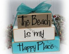 This The Beach Is My Happy Place Itty Bitty Stacking Wood Blocks is just one of the custom, handmade pieces you'll find in our home décor shops. 2x4 Crafts, Wood Block Crafts, Scrap Wood Projects, Crafts To Sell, Craft Projects, Craft Ideas, Diy Wooden Crafts, Cabin Crafts, Driftwood Crafts
