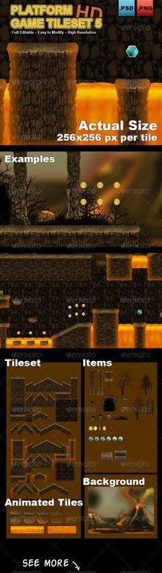 Buy Platform Game Tileset Volcano by simirk on GraphicRiver. Tileset for make videogames : pixels. Game Level Design, Game Design, Unity Game Development, Unity Games, Game Props, Game Background, Fantasy Map, Game Concept, Game Assets