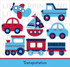 Transportation Transportation Car Sailboat by LittlePrintsParties, $5.00