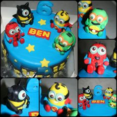 Superhero Minions I love love this cake, I was asked to do a cake for a little boy who loves Minions, Spiderman, TMNT and really all Superheros. So I just figured lets do Superhero Minions