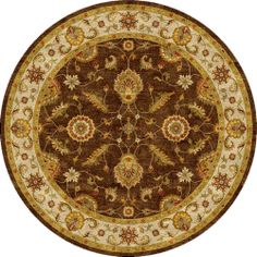 Hand-tufted Traditional Oriental Pattern Brown Rug (10' Round) | Overstock.com Shopping - Great Deals on JRCPL Round/Oval/Square