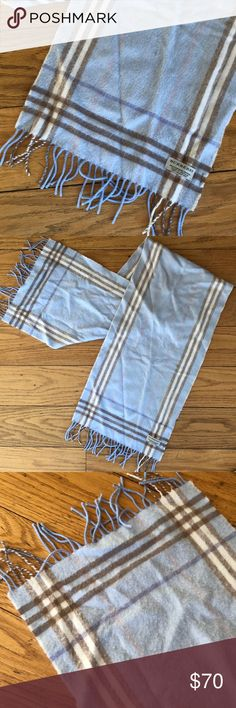 100% Authentic Burberry Scarf Light blue (with some light pink and cream) Burberry scarf. Cashmere and wool. Worn twice; it's been in storage. No storage smell. Shorter scarf with fringe on the ends. BEAUTIFUL, super soft scarf! Smoke/pet-free closet. No trades. Burberry Accessories Scarves & Wraps