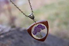 Violet real flowers necklace Wood resin pendant Flower Resin