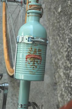 Classy old water bottle on a Bianchi Corsa 3.