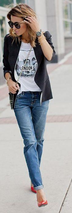 Blazer, Graphic tee, jeans & heels