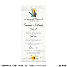 Sunflower & Rustic Wood Farm Wedding Dinner Menu by CyanSkyCelebrations on Zazzle