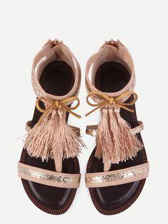 Sandales plates avec franges - abricot