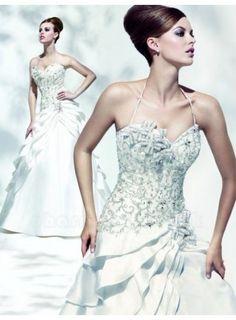 Corset halter wedding dress with angulated skirt