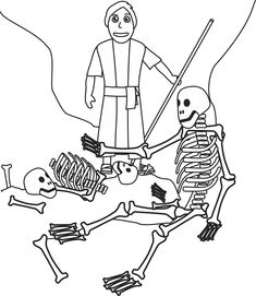 Ezekiel and the valley of dry bones coloring page