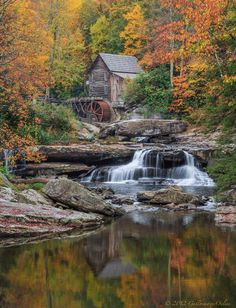 Glade Creek Grist Mill - classical vertical with reflection