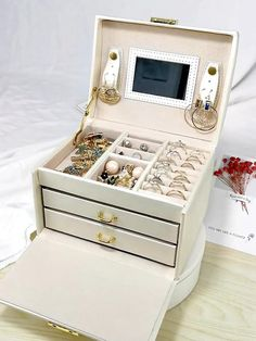 PORTABLE 3 LAYERS JEWELRY BOX WITH LOCK AND MIRROR Travel Jewelry Organizer, Jewelry Organization, Jewelry Box With Lock, Layered Jewelry, Jewelry Case, Nude Color, Storage Drawers, Space Saving, Best Gifts