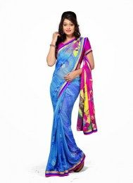 Blue Color All New Printed Traditional Georgette Sari