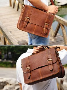 "Vintage Handmade Leather Briefcase / Satchel / Messenger / 11"" MacBook 12"" Laptop Bag"