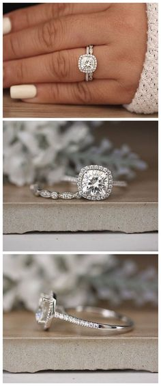 14k White Gold Moissanite Cushion 7.5mm Engagement Ring, White Gold Ring, Forever Classic Moissanite Cushion Bridal Ring, Wedding Ring Set #WhiteGoldJewellery