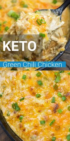 This easy One Pan Keto Green Chili Chicken is the ultimate cheesy low carb casserole! At under 4 net carbs per serving this will be a weekly staple on your keto diet! #keto
