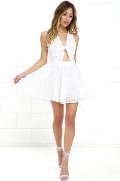 Lucy Love Supernova - Ivory Lace Dress - White Dress - Skater Dress - $75.00