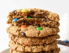 Monster Cookies are a cross between an oatmeal cookie and a peanut butter cookie and are one of most delicious cookies ever! Even better when GIANT!