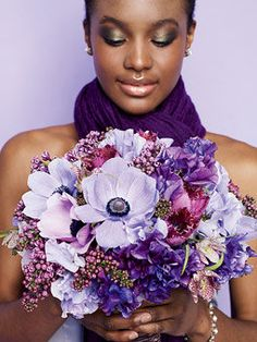 Browse Purple wedding flowers to find bouquets, centerpieces & boutonnieres.Get inspired ideas for everything from classic white wedding bouquets to unique floral wedding décor. Anemone Wedding, Purple Wedding Bouquets, Floral Wedding, Bridal Bouquets, Bouquet Wedding, Wedding Color Schemes, Wedding Colors, Sweet Pea Bouquet, Wedding Flower Photos