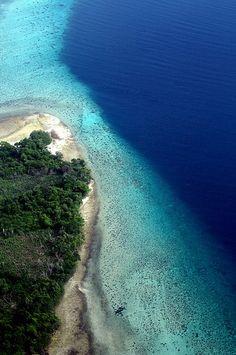 Aerial shot of isolated beach in Ngagu, Pemba Island, Zanzibar