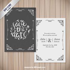 Cartão de casamento decorativo no estilo retro Vetor Premium