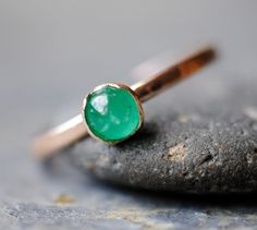 Genuine+Emerald++Ring+14k+Rose+Gold+Handmade+by+DalkullanJewelry,+$250.00