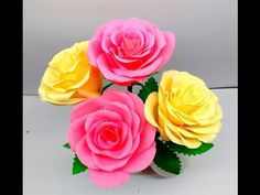 How to make Paper Flowers Rose (flower # 146) - YouTube