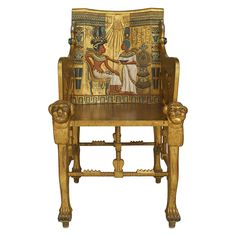 Egyptian Revival gilt armchair or throne with carved motifs and polychromed relief with classical figures and hieroglyphics (possibly English, 1890s)