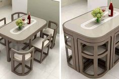 These Space Saving Tuck Under Dining Tables Are Perfect For Tiny Homes or Apartments Folding Furniture, Stow Away, Dining Tables, Tiny Homes, Be Perfect, Space Saving, Apartments, Armchair, Room
