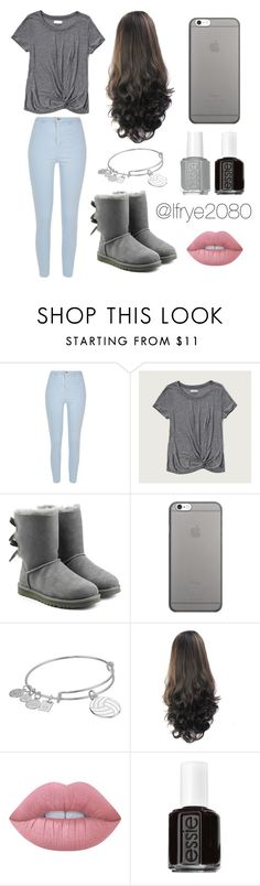 """""""Grey Simple"""" by lfrye2080 ❤ liked on Polyvore featuring River Island, Abercrombie & Fitch, UGG, Native Union, Alex and Ani, Lime Crime and Essie"""
