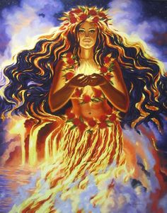 Pele ;  Hawaiian goddess of volcanic fire, personification of the female power of destruction.
