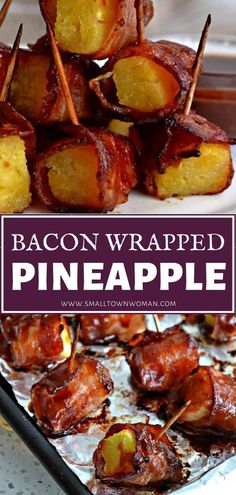 Bacon Wrapped Pineapple is a hit at any party! Fresh pineapple chunks wrapped in bacon are basted with a sweet and slightly spicy oriental sauce then baked to crispy golden perfection. A mouthwatering Bacon Appetizers, Easy Appetizer Recipes, Appetizers For Party, Easy Bacon Recipes, Quick Appetizers, Jam Recipes, Cooking Recipes, Jalapeno Recipes, Burger Recipes