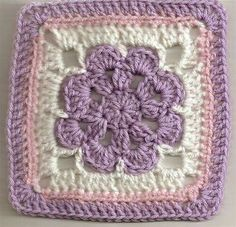 Crochet granny square. Pretty colour combination