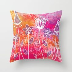 Watercolor Flowers 2 Throw Pillow