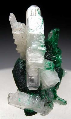 Cerussite on Malachite from Tsumeb, Namibia