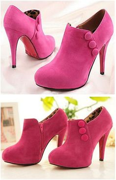 Pink Heeled Button Booties