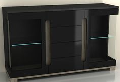 High Gloss Wide Sideboard Cabinet- Black Cupboard New Glass Door Unit LED Lights #JAFFO #Contemporary