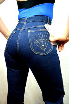 Vintage 70s Jeans with Diamond Embroidered by Tres Jolie - NWT by RogueRetro on Etsy https://www.etsy.com/listing/216104528/vintage-70s-jeans-with-diamond