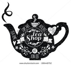 Vintage Cafe Menu with a teapot shape and chalk lettering style in black and white. Vector. - stock vector
