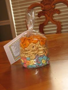 Baseballs and Bows: Back to School Ice Cream Social- snack mix and poem
